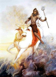 Nandi Avatar Lord Shiva represents all beings on Earth. This avatar of Lord Shiva is an indication towards it. : 19 Avatars of Lord Shiva Shiva Tandav, Shiva Art, Hindu Art, Hare Krishna, Tantra, Shiva Tattoo, Religion, Lord Shiva Painting, Lord Mahadev
