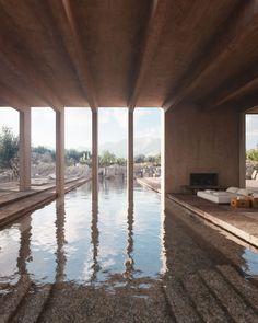 Villa Chams in Baalbek, Lebanon by Carl Gerges Architects   Yellowtrace Amazing Architecture, Landscape Architecture, Interior Architecture, Interior Design, Minimalist Architecture, Villas, Piscina Interior, Concrete Column, Terrazo