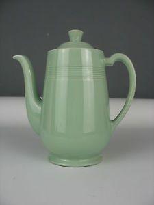Vintage 1940s 50s Woods Ware Beryl Green Coffee Pot - WW2 Utility