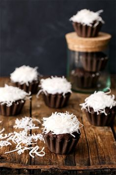 Vegan Chocolate Coconut Cupcakes with Whipped Coconut Cream Frosting from @loveandoliveoil
