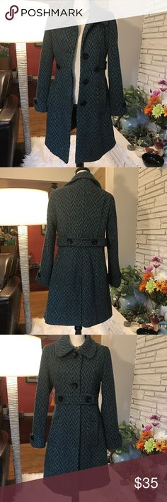 Romy Blue and Black Woven Winter Coat Very form flattering and warm. The waist straps can be buttoned in front or back for different looks. Fully lined. In very good condition with minor pilling. Small, but fits more like a medium. Romy Jackets & Coats Trench Coats