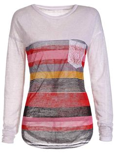 Trendy Colorful Striped Jewel Neck Long Sleeve Irregular T-Shirt For Women in Orange | Sammydress.com