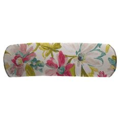 Easy Way 20 x 7 in. White Tea Print Polyester Outdoor Bolster Pillow - 11028N-C672
