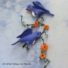 PDF Pattern, Primitive Bluebird, Wall Hanging, Primitive Bird, Sewing Pattern, Primitive Flowers