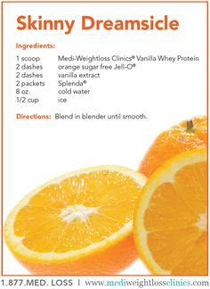 Healthy Summer Treat! Skinny Orange Dreamsicle - protein shake recipe.