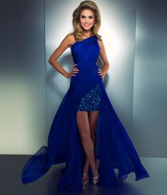 Royal blue high low prom dress Mac Duggal Cassandra Stone