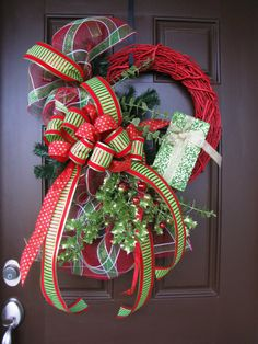 Christmas Wreath with Red Painted Grapevine by TheWrightWreath