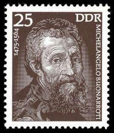 Michelangelo auf Briefmarke der DDR von 1975