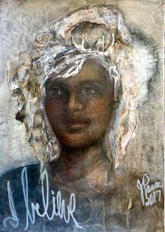 I Believe by Jan Paron, 2017: mixed media portrait #portraitpainting #Inktensepencils #collageart #oilsticks #ink #mixedmedia