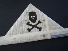 Newspaper Pirate Hat - tutorial with Jolly Roger stencil.  Butcher paper works great for these too.