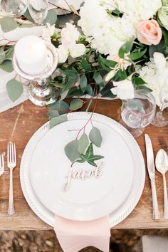 pink peach and white wedding table decor and place setting