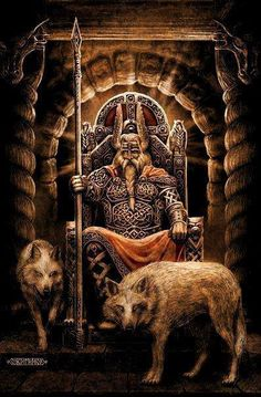 ODIN – Também chamado de Wotan ou Woden, É o principal deus da Mitologia Nórdica. Senhor dos Deuses, de Asgard e de Midgard, e é o Deus da Guerra, da Morte e da Magia, além de protetor dos governantes e dos poetas. Deu de presente aos humanos o Alfabeto Rúnico, pelo qual teve que passar nove dias e nove noites pendurado na Árvore de Yggdrasil. Possuia Sleipnir, o cavalo mais veloz do mundo. O termo em inglês para Quarta-feira (Wednsday) deriva de Odinsday, por esse ser o dia em que era mais.