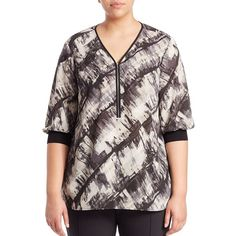 Lafayette 148 New York, Plus Size Tiara Crepe Zip-Front Blouse ($480) ❤ liked on Polyvore featuring tops, blouses, apparel & accessories, zip top, women plus size tops, zipper front blouse, plus size womens blouses and crepe blouse