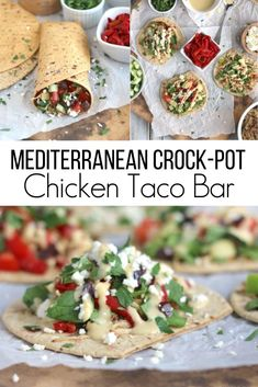 """Next time you're thinking """"taco night,"""" think beyond the typical Mexican-style taco bar and try this incredibly delicious Mediterranean Chicken Taco recipe! It's a fun make-it-your-own dinner that's easy to prep ahead for busy nights. And, it's a classed-up version of the traditional taco bar that's perfect for parties and game day, too! Taco Bar Recipes, Chicken Taco Recipes, Chicken Tacos, Kitchen Recipes, Healthy Chicken, Turkey Recipes, Crock Pot Slow Cooker, Slow Cooker Chicken, Slow Cooker Recipes"""