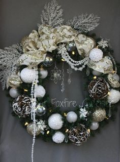 30 inch lit Champagne and Ice Christmas wreath. I absolutely love this one!
