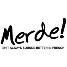 "merde -because it sounds better in French.Rimbaud once scrawled ""Merde a Dieu!"" as graffiti in Paris. Words Quotes, Wise Words, Me Quotes, Funny Quotes, Qoutes, French Swear Words, Speak French, Learn French, Better In French"