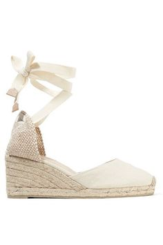 Wedge heel measures approximately 80mm/ 3 inches Oatmeal canvas Ties at ankle