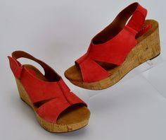 e714e7070dfa8 Clarks Artisan Caslynn Shae Red Leather Cork Wedge Sandals Women s Size 6.5  M  Clarks