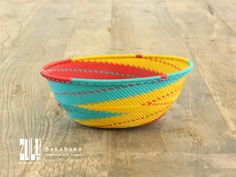 BAKABAKA - Zulu Woven Telephone Wire Bowl Large - yellow/red/turquoise by ZuluBeadz on Etsy Kwazulu Natal, Red Turquoise, Telephone, Happy Shopping, Decorative Bowls, Wire, Yellow, Etsy, Phones