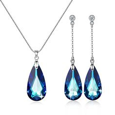 Lass Inlet 925 Sterling Silver with Bermuda Blue Crystals From Swarovski By GoSparkling ST-48105 Just 39.99 #Save at least #50%off #sale