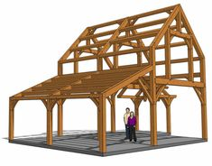 This 24x30 timber frame cabin packs many exciting features 956 square feet, with a hammer-beam entry and two floors to spread out in. Timber Frame Cabin, Elevation Drawing, Structural Analysis, Clerestory Windows, Construction Drawings, A Frame House, Barn Plans, Ceiling Height, Tropical Houses