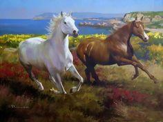Ronroneo de caballo , que bonito ,primeo ,se acercan ,luego se rondan , luego corren ,se van a pasear al m...