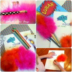 Truffula pencils - DIY pencil craft #Dr. Seuss #The Lorax...6/10/13: Used feather boa, looks more like a flamingo, didn't have a glue gun and used craft glue (a little messy!)