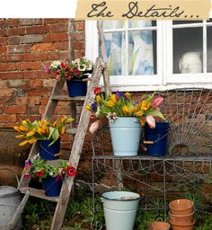 Would be great to find an old ladder and buckets for outdoor entry/backyard flower display for E's party.