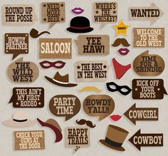 35 Old West party printables photo booth props, cowboy party, photobooth props for western themed party, old west theme, cowboy prop booth Rodeo Party, Cowboy Party, Cowboy Birthday Party, Birthday Diy, Birthday Parties, Pirate Party, Wild West Party, Wild West Theme, Wild Wild West