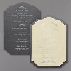 Vogue Velvet Ecru Invitation - Crest shaped. Foil printing. An ecru velvet wedding invitation so rich and so vogue is the only way to introduce your glamorous big day. Also available in black and Gray.