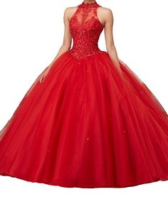 AVDA Women's Halter Lace Appliques Dance Ball Gowns Quinceanera Dress 18 Red. It is for dance,sweet 16 and other formal occasion. Please refer to our size chart on the left. we also accept to custom made the color and size you want. If you have any questions about your order, pls message me any time:). If you want to rush the order. Please choose EXPEDITE shipping way and message us the DATE of your big day in advance.