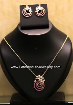 diamond ruby pendant earrings