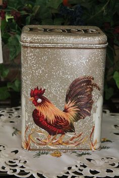 Cookie Tin Rooster White Picket FenceKitchen by CraftsByJoyice, $24.95
