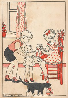 Illustration by Nans van Leeuwen, from a vintage Dutch children's book Vintage Children's Books, Vintage Cards, Vintage Postcards, Images Vintage, Vintage Pictures, Patron Vintage, Little Doll, Children's Book Illustration, In This World