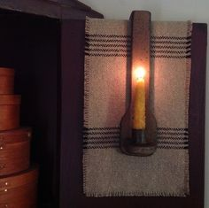 Primitive Over the Door Candle Holder w Grungy Candle Mustard Primitive Lighting, Primitive Candles, Rustic Lighting, Primitive Crafts, Vintage Lighting, Primitive Country, Window Candles, Hanging Candles, Hanging Lights