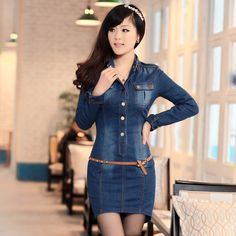 Free-shipping-fashion-lady-s-denim-skirt-denim-jeans-denim-dresses-blue-Slim-long-sleeve-dress.jpg 800×800 píxeles