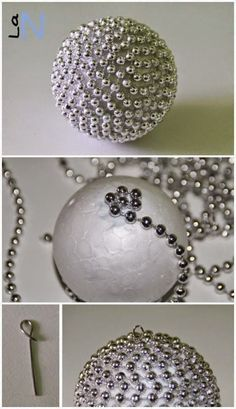 20 lovely ideas to make yours for the Christmas tree – Ideas for DIY crafts - XMas Diy Christmas Ornaments, Christmas Projects, Holiday Crafts, Christmas Spheres, Ornament Crafts, Beaded Ornaments, Holiday Decor, Noel Christmas, Homemade Christmas