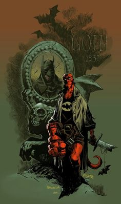 Mike Mignola - Here Mike uses color to establish visual hierarchy. It is clear that Mignola is thinking about movement of the eye at all times in his composition. The saturation of Hellboy in front creates an interesting contrast to the muted colors of the Batman figure.