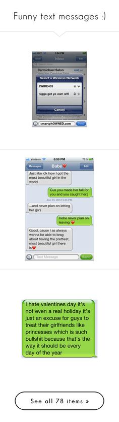 """""""Funny text messages :)"""" by xiluvhpx ❤ liked on Polyvore featuring text, funny, quotes, pictures, backgrounds, fillers, phrase, saying, words and text messages"""