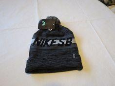 86ecc7ed00559 NIKE SB black grey beanie knit hat Men s RARE skateboarding skate surf 7602  NEW