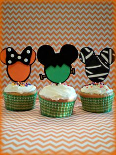 Check out this item in my Etsy shop https://www.etsy.com/listing/202837737/mickey-mouse-halloween-cupcake-toppers