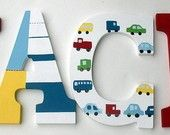 Nursery room Personalized Name Wall letters Pottery Barn Cars Oscar