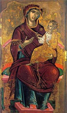 """Attributed to Theophanes the Cretan (Theophanes Strelitzas aka Bathas, or his workshop. Gregoriou monastery, Mt Athos, Greece): Virgin Mary """"Hodegetria"""" (ca. Byzantine Icons, Byzantine Art, Byzantine Mosaics, Religious Icons, Religious Art, Religious Paintings, Best Icons, Holy Mary, Madonna And Child"""