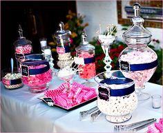 A shot of the whole pink-navy candy buffet.