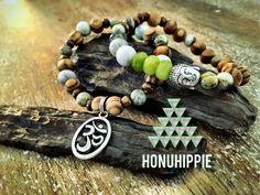 Buddha Om Jade bracelet boho yoga mala jewelry by HonuHippie