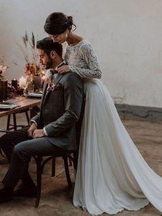 size wedding photography Chic Long Sleeves Two Pieces Chiffon Wedding Dresses with Lace, Backless Wedding Gowns Long Sleeve Bridal Dresses, Wedding Dress Chiffon, Backless Wedding, Long Wedding Dresses, Bridal Gowns, Lace Maxi, Chiffon Dresses, Lace Wedding, Lace Dress
