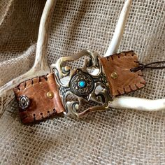 Native American Stitched Leather Cuff,  -  Hill Country Chic