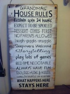 Grandma's House Rules hand-painted wood sign