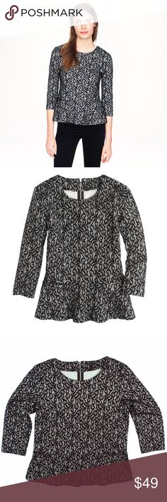 """New JCREW Black Lace Peplum Shirt Top NWOT. This new black and natural Lace Peplum top from JCREW features a cotton Lace outside and smooth jersey inside, back zip closure behind the neck, 3/4 length sleeves. Fitted. Made of a poly/cotton/viscose/nylon blend. Measures: bust: 37"""", total length: 22.5"""", sleeves: 18"""" J. Crew Tops"""