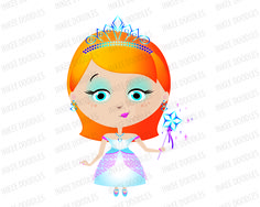 Girl Princess with Orange Hair wearing a  Tiara in Teal Turquoise and Pink Gown, Holding Star Wand - Clip Art for Commercial Use 30014, $6.00 #princess #clipart #cuteprincess